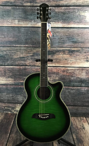 Oscar Schmidt Acoustic Guitar Guitar Only Oscar Schmidt OG10CE Acoustic Electric Guitar- Flamed Green