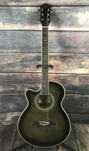 Oscar Schmidt Acoustic Guitar Oscar Schmidt Left Handed OG10CE Acoustic Electric Guitar- Trans black