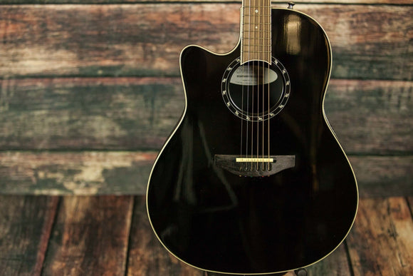 Ovation Acoustic Guitar Black with case Ovation Left Handed L771AX  Acoustic Electric Guitar- Black