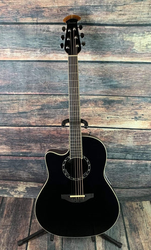 Ovation Acoustic Guitar Ovation Left Handed L771AX Timeless™ Collection Timeless Balladeer® Mid Depth Acoustic Electric Guitar- Black