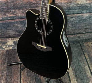 Ovation Left Handed L771AX Timeless™ Collection Timeless Balladeer® Mid Depth Acoustic Electric Guitar- Black