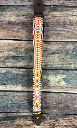 "Perri''s Leathers Strap Perri's 2"" Jacquard Strap with Leather Ends- Yellow/Orange"