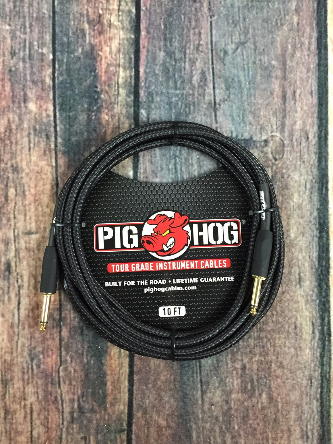 Pig Hog Cable Pig Hog PCH10BK 10ft Black Woven Straight to Straight Instrument Cable