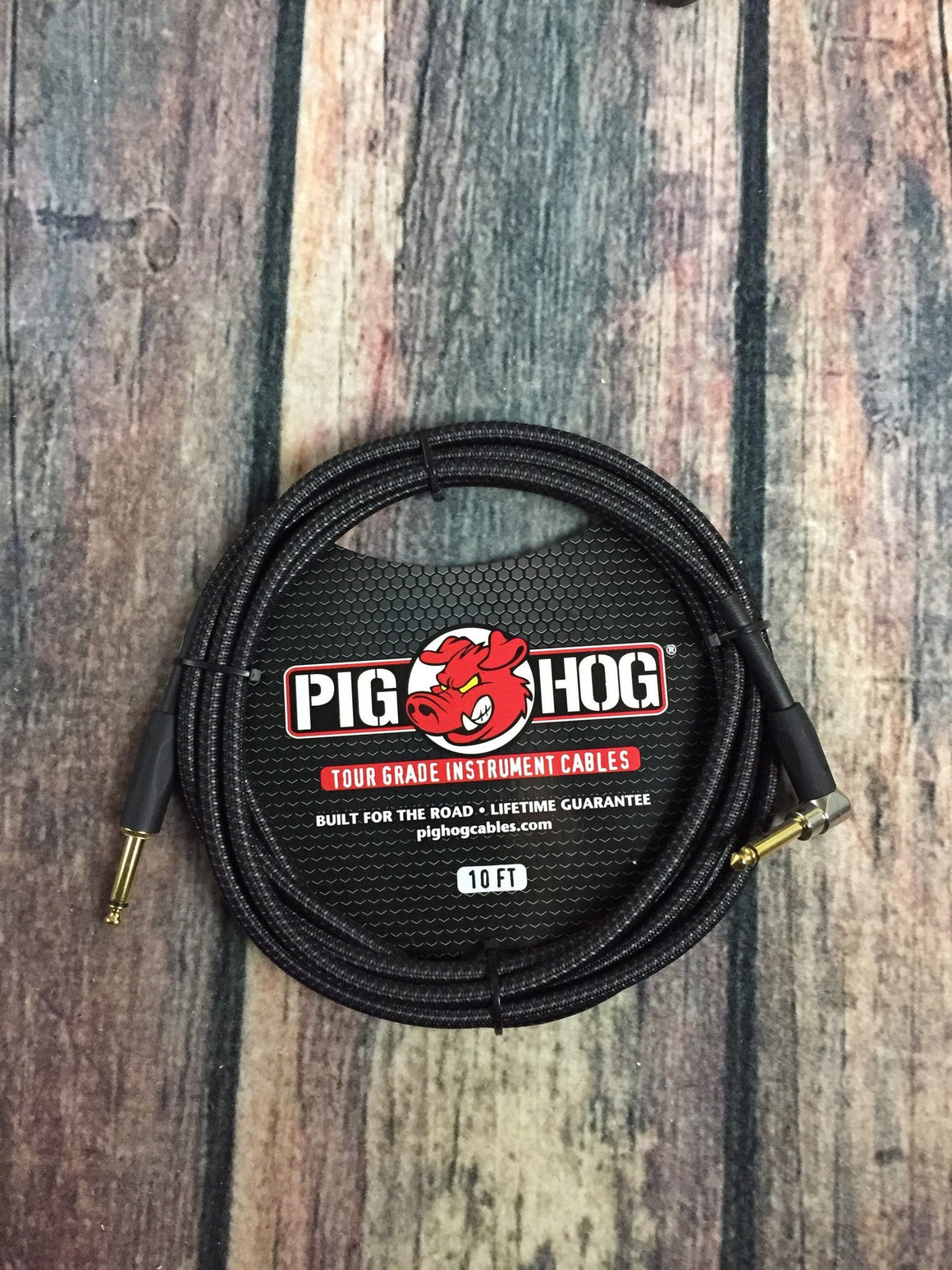 Pig Hog Cable Pig Hog PCH10BKR 10ft Black Woven Straight to Right Angle  Instrument Cable