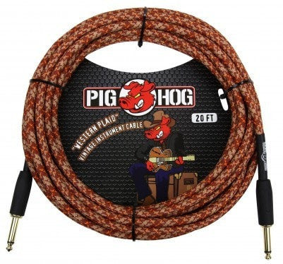 Pig Hog Cable Pig Hog PCH20CP 20ft Western Plaid Straight to Straight Instrument Cable