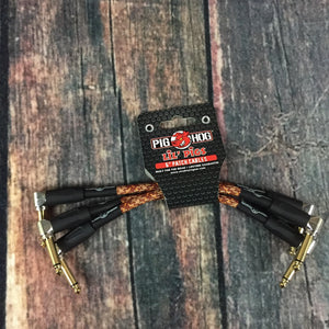 Pig Hog Cable Pig Hog PHLIL6CP Lil Pigs Vintage Western Plaid 6 inch Patch Cable- 3 Pack