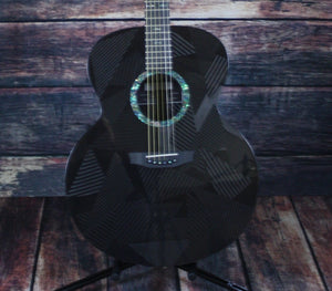 RainSong Acoustic Electric Guitar Includes a Hard Shell Case Rainsong Right Handed Black Ice BI-JM1000N2 6-string Jumbo Acoustic Electric Guitar