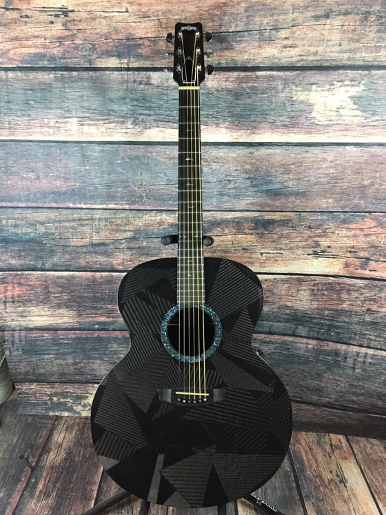 RainSong Acoustic Electric Guitar Used Rainsong Left Handed JM-1000N2 Black Ice Acoustic Electric Jumbo