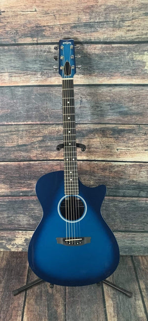 RainSong Acoustic Guitar Rainsong H-OM1000N2M Hybrid Series Acoustic Electric Orchestra Body Guitar- Marine Burst