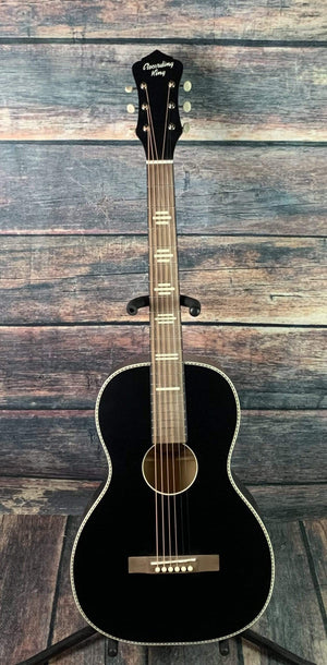 Recording King Acoustic Guitar Recording King RPS-7-MBK Dirty 30's Series 7 Single 0 Acoustic Guitar- Matte Black