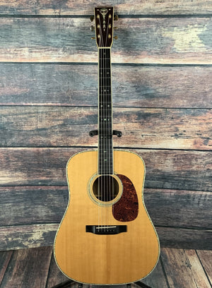 "Recording King Acoustic Guitar Used Recording King RD-227 ""Torch"" All Solid Dreadnought Natural Gloss with Hard Shell Case"