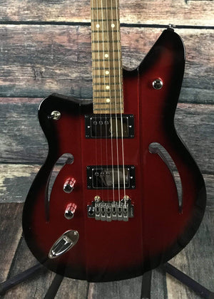 Reverend Electric Guitar Reverend Left Handed Air Sonic W Semi Hollow Electric Guitar- Metallic Red Burst