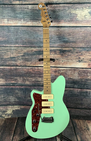 Reverend Electric Guitar Used Reverend Left Handed Jetstream 390 Oceanside Green Electric Guitar with Gig Bag