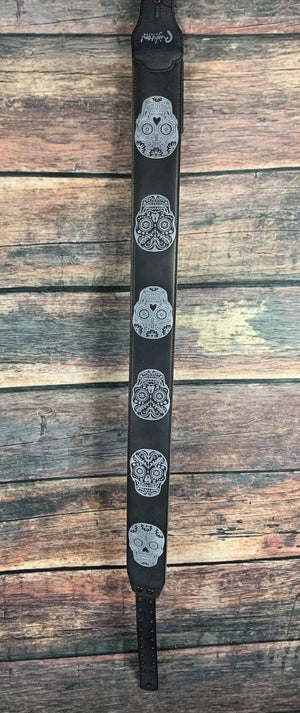 RightOn! Strap Righton! Leathercrafter Series Sugar Skull Leather Guitar Strap- Black