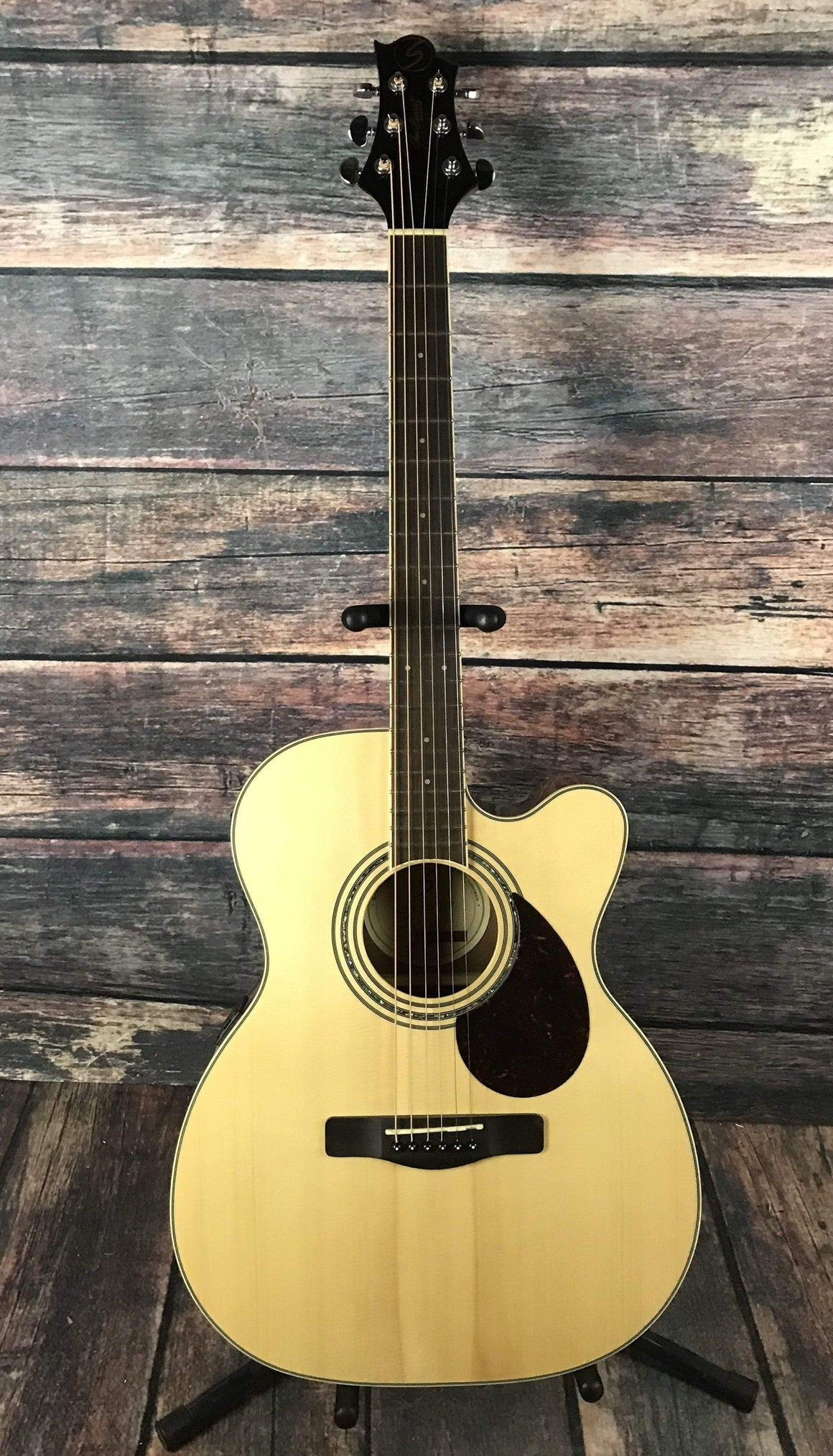 Samick Acoustic Guitar Used Samick OM-5CE Small Body Acoustic Electric Guitar with Gig Bag