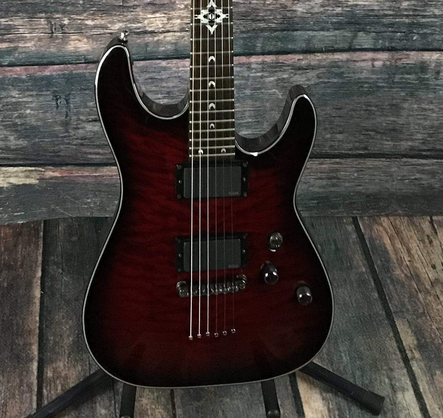 used schecter c 1 hellraiser dlx with emg 39 s and hard shell case. Black Bedroom Furniture Sets. Home Design Ideas