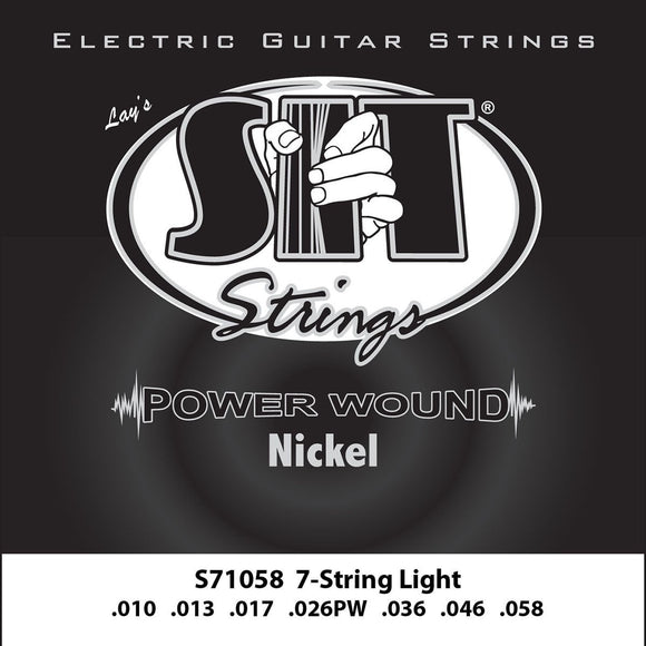 SIT Strings Electric Guitar Strings SIT Power Wound Nickel 7 String Light Electric Guitar Strings