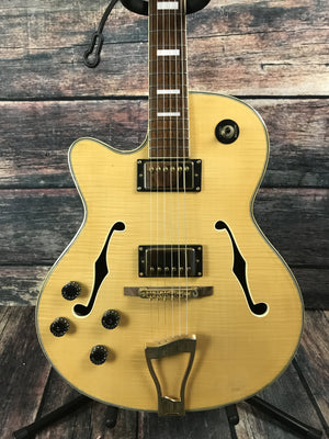 Stagg Electric Guitar Natural Guitar with Hard Shell Case Stagg Left Handed A-350 Natural Jazz Electric Guitar