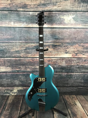 Supro Electric Guitar Guitar Only Supro Left Handed Westbury Elecric Guitar- Turquoise Metallic