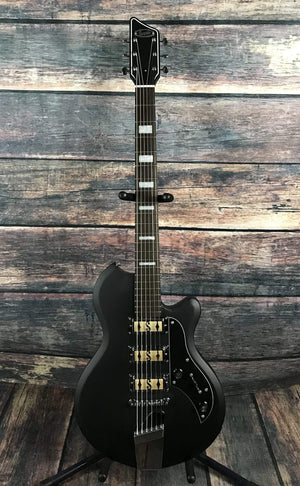Supro Electric Guitar Supro Hampton 3 Pickup Baritone Electric Guitar- Djent satin Black