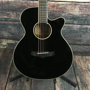 Tanglewood Acoustic Guitar Tanglewood TW4SFCEBK Super Folk Acoustic Electric Guitar- Gloss Black