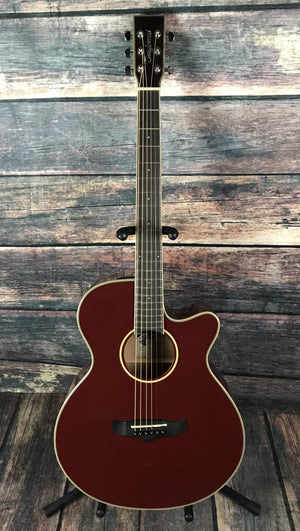 Tanglewood Acoustic Guitar Tanglewood TW4SFCEBR Super Folk Acoustic Electric Guitar- Burgundy Red Gloss