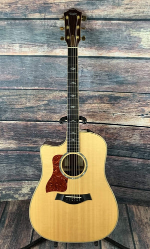 Taylor Acoustic Guitar Used Taylor 2008 Left Handed 810CE Acoustic Electric Guitar with Hard Shell Case