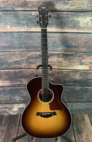 Taylor Acoustic Guitar Used Taylor 214CE Deluxe Acoustic Electric Guitar with Hard Shell Case- Sunburst