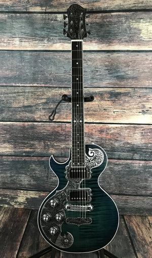 Teye Electric Guitar Teye Left Handed Electric Gypsy Fox Electric Guitar- Flamed Blue