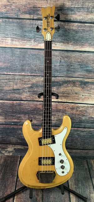Univox Electric Bass Used Univox 70's Hi-Flyer 4 String Electric Short Scale Bass wth Hard Shell Case- Natural