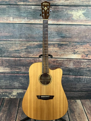 washburn Acoustic Guitar Used Washburn WD150SWCE All Solid Wood Series Cutaway Acoustic Electric Guitar with Washburn Case