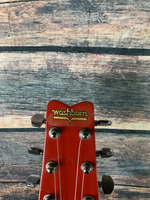 Used Washburn 1981 Wing Series Falcon Double Cutaway Electric Guitar with Hard Shell Case- Red