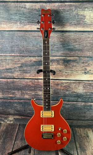 washburn Electric Guitar Used Washburn 1981 Wing Series Falcon Double Cutaway Electric Guitar with Hard Shell Case- Red
