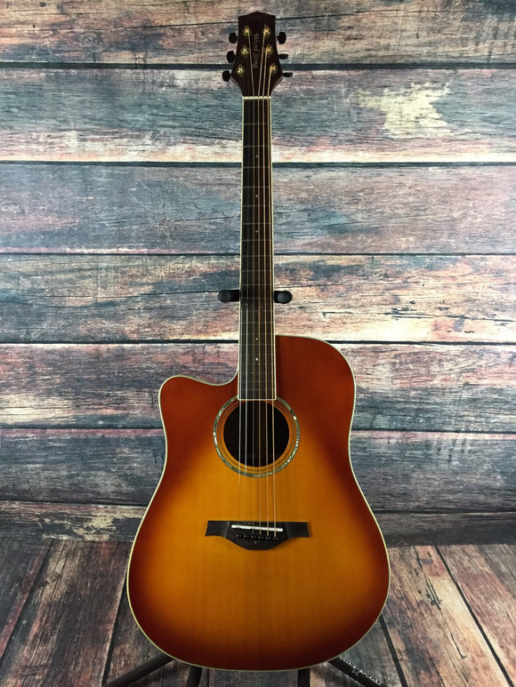 Wood Song Acoustic Guitar Wood Song Left Handed DCE Acoustic Electric Cutaway Guitar- HoneyBurst