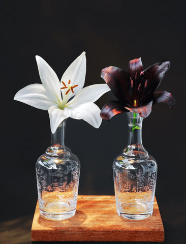 Two flowers Marriage: A black Tiger Lily and and White Velvet Lily