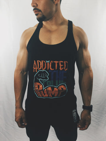 "Men's ""Addicted to the Pump"" Stringer Tank Top , T-Shirt - Raw Fitness Apparel, Raw Fitness Apparel  - 1"