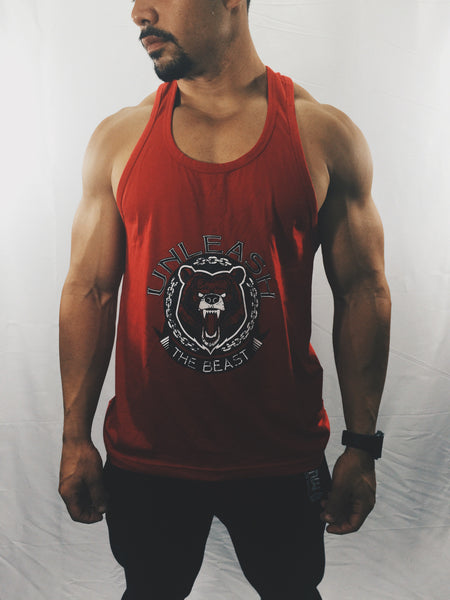 "Men's ""Unleash The Beast"" Stringer Tank Top , T-Shirt - Raw Fitness Apparel, Raw Fitness Apparel  - 1"