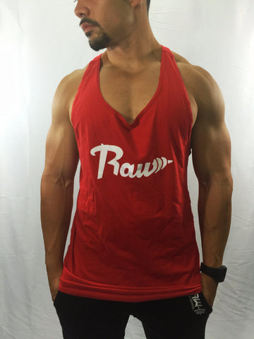 "Men's ""Raw"" Red Stringer , T-Shirt - Raw Fitness Apparel, Raw Fitness Apparel  - 1"