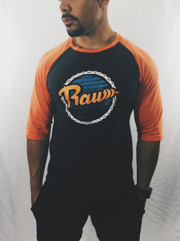 "Men's Raw ""Dolphins"" Baseball Tee , T-Shirt - Raw Fitness Apparel, Raw Fitness Apparel  - 1"