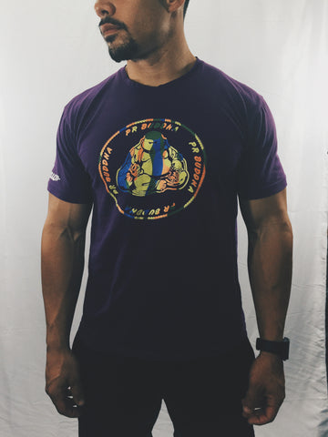 "Men's ""PR Buddha"" T-Shirt Purple/Black , T-Shirt - Raw Fitness Apparel, Raw Fitness Apparel  - 1"