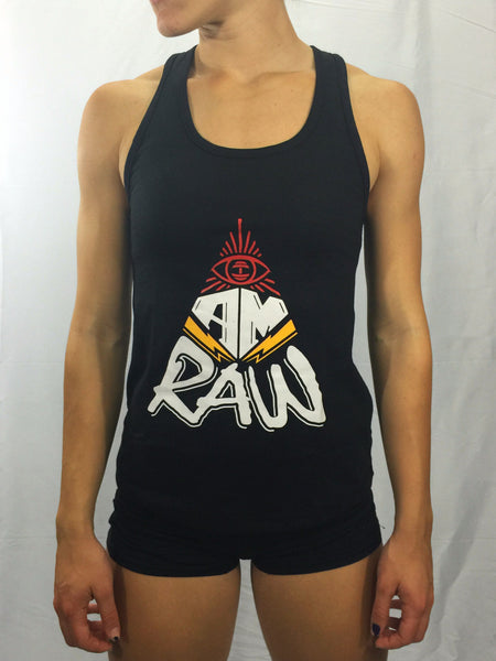 "Women's ""I AM RAW"" Racerback Tank , T-Shirt - Raw Fitness Apparel, Raw Fitness Apparel  - 1"