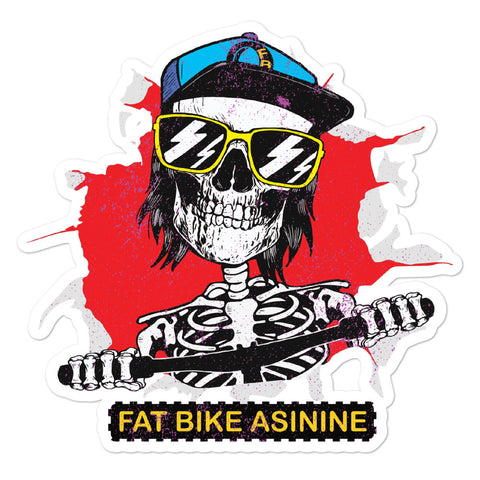 Fat Bike Skelly Large Sticker | Fat Bike Asinine