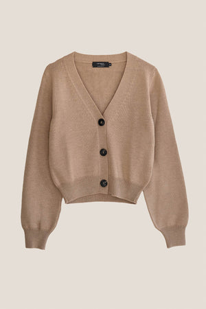 Cardigan cropped in lana - Cammello