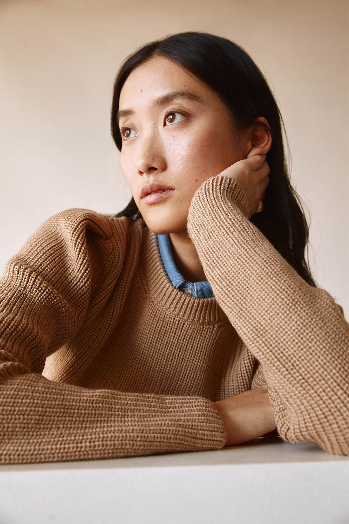 The Cropped Sweater with pinces - Camel