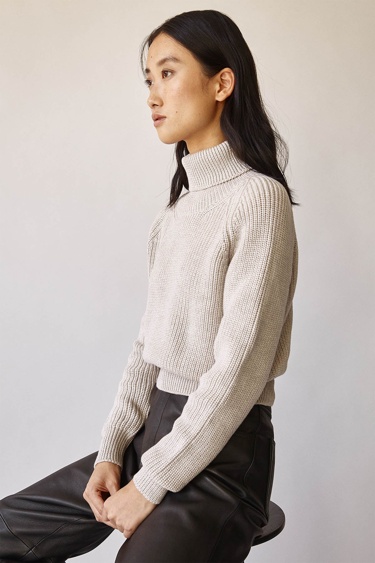 The Cropped High-Neck Sweater- Pearl