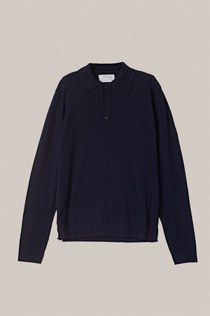 Merino Wool Polo - Blue Navy