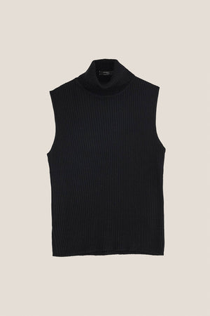 The Knit Turtleneck Top - Black
