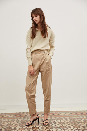 The Crop Polo in Eco-Cashmere - Panna