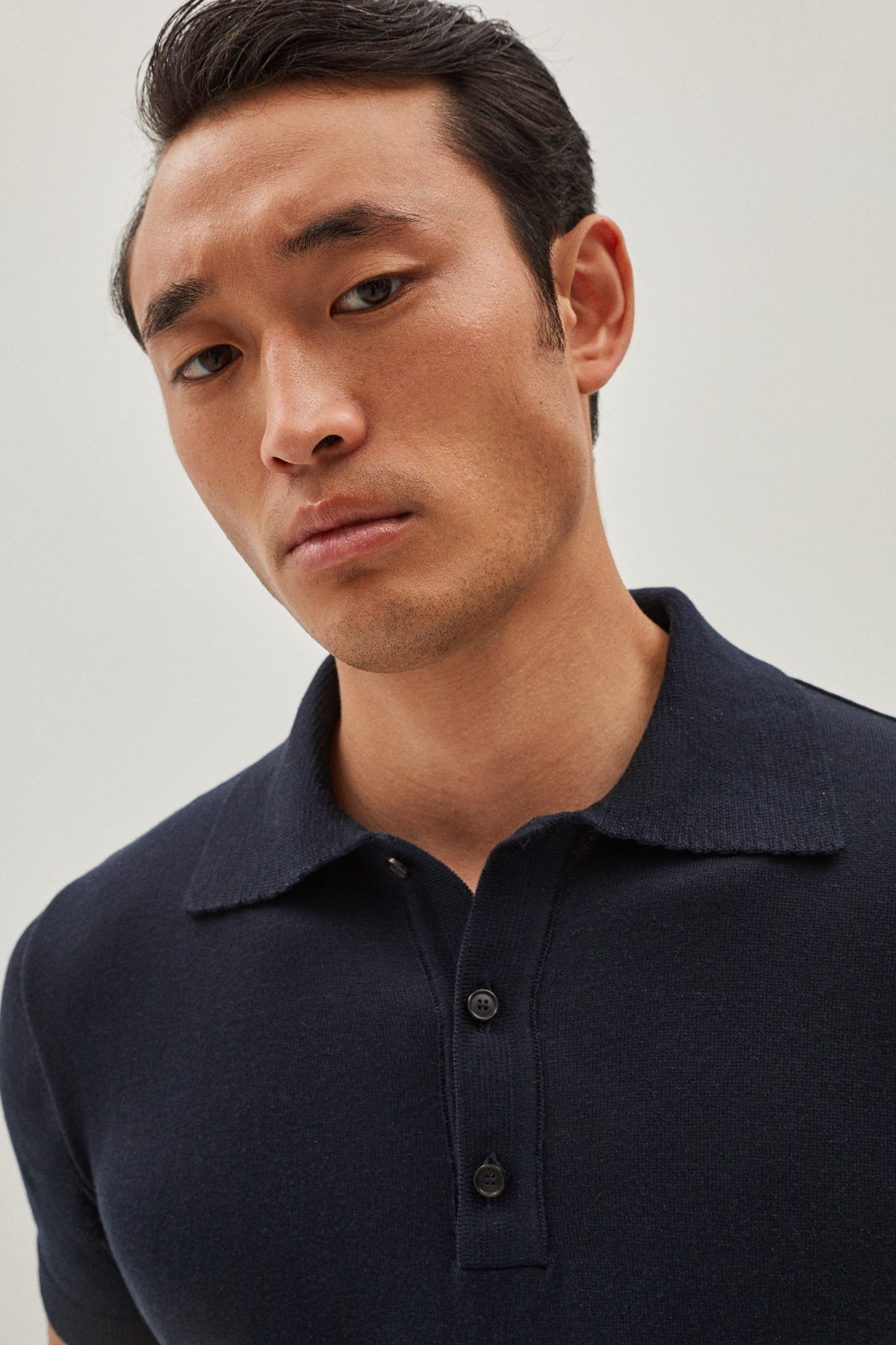 The Lightweight Silk Polo - Blue Navy