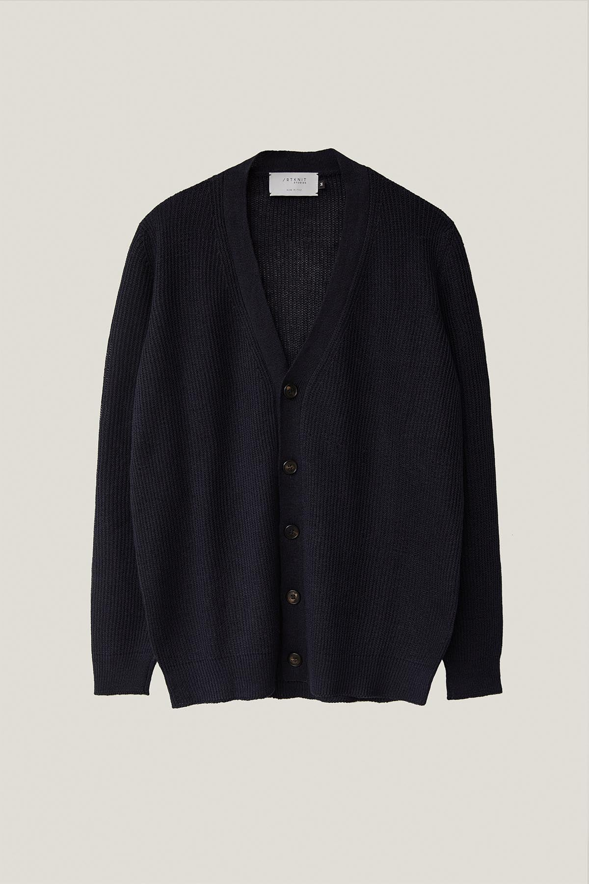 The Ribbed Linen Cardigan - Blue Navy